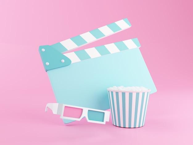 3d popcorn, filmklappe und 3d-brille.