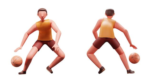 3d-porträt des männlichen basketballspielers in der vorder- und rückseite.
