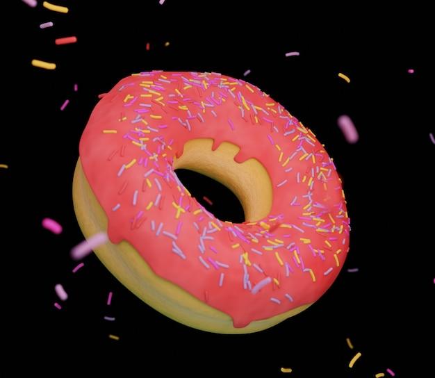 3d-produktillustration rosa gutes donut-essen lecker