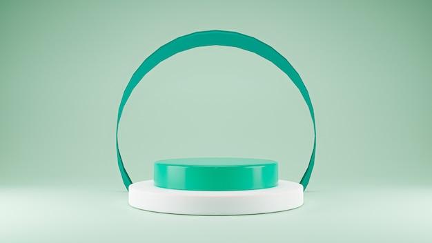 3d-produktpräsentationsbühne für die präsentation von pastell-minzgrün-thema