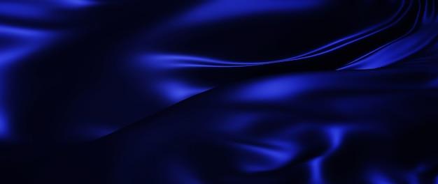 3d-putz aus dunkler und blauer seide. schillernde holographische folie. modehintergrund der abstrakten kunst.