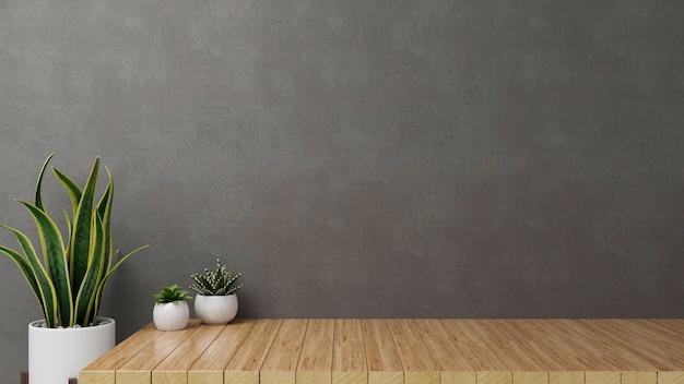 3d-putz, hauptdekorationen mit zimmerpflanzentöpfen und kopierraum auf holztisch mit grauem dachbodenwandhintergrund, 3d-illustration