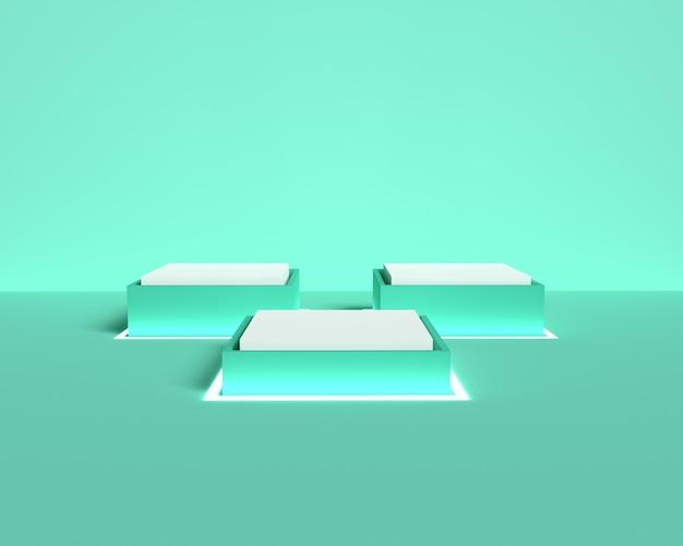 3d quadratisches pastellgrünes podium für produktplatzierung mit neonlicht