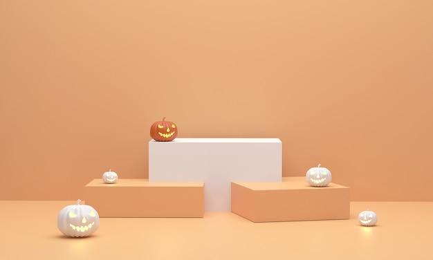 3d. quadratisches podium mit halloween-kürbis zur präsentation von produkten an halloween