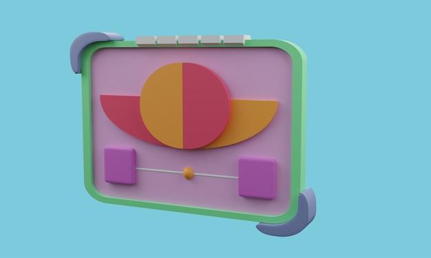 3d-rastersymbol mit blumen mitten auf blauem hintergrund