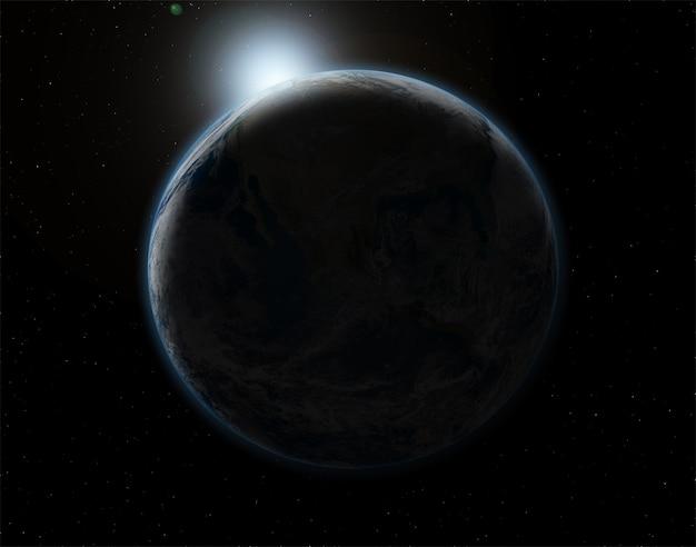 3d-raum hintergrund mit dem planeten erde in finsternis