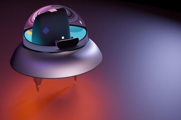 3d-raumabbildung einer fliegenden untertasse mit neonlicht, das sich auf den start vorbereitet. raumfahrt auf der suche nach neuen planeten