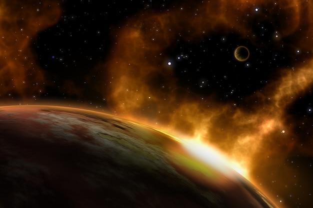 3d-raumhintergrund mit fiktiven planeten