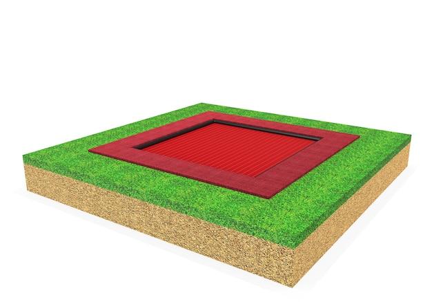 3d realistische quadratische trampolinausrüstung für kinder isoliert auf weißem hintergrund