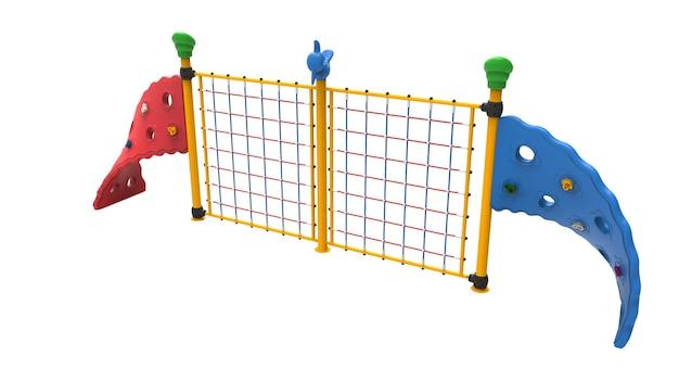 3d-realistische spielplatzpark-doppelseil-kletterausrüstung für kinder isoliert auf weißem hintergrund