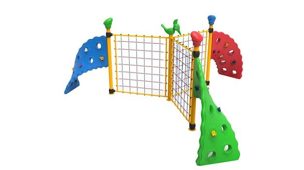 3d-realistische spielplatzpark dreifachseil-kletterausrüstung für kinder isoliert auf weißem hintergrund