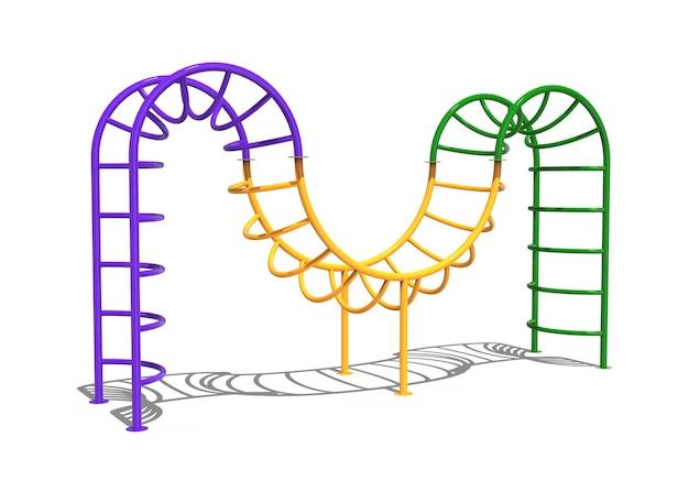 3d-realistische spielplatzpark-wurm-kletterausrüstung für kinder isoliert auf weißem hintergrund
