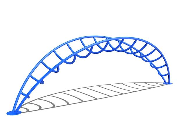 3d realistische spielplatzparkbrücke kletterausrüstung isoliert auf weißem hintergrund