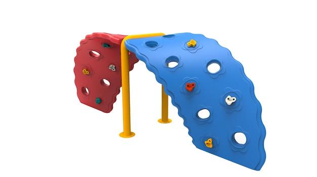 3d realistischer spielplatz park doppelt verdrehte kletterausrüstung isoliert auf weißem hintergrund
