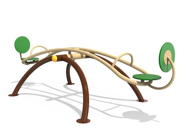 3d realistischer spielplatzpark gebogene bunte wippe für kinder isoliert auf weißem hintergrund