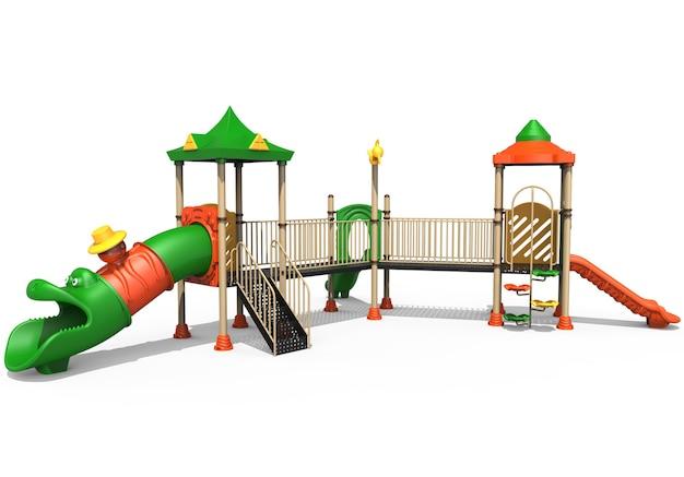 3d realistischer spielplatzpark isoliert auf weißem hintergrund
