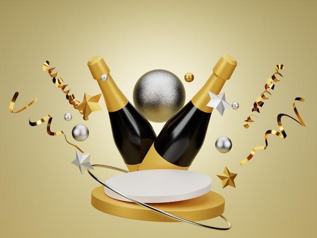 3d realistisches neujahrspodium mit goldenem konfettistern und champagner auf goldenem hintergrund