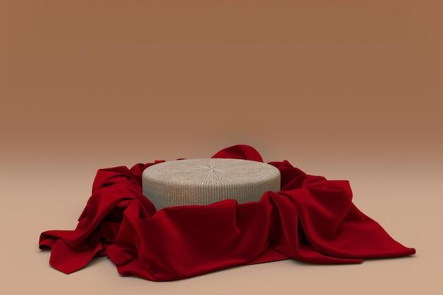 3d realistisches rundes podium bedeckt mit rotem seidentuch isoliert auf beigem hintergrund leerer sockel