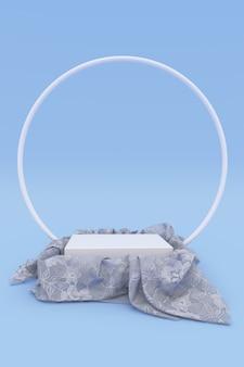3d realistisches rundes podium bedeckt mit weißem tüllmaterial isoliert auf blauem hintergrund. leerer sockel, stehen. stoff mit drapierung, rundbogen. vertikal