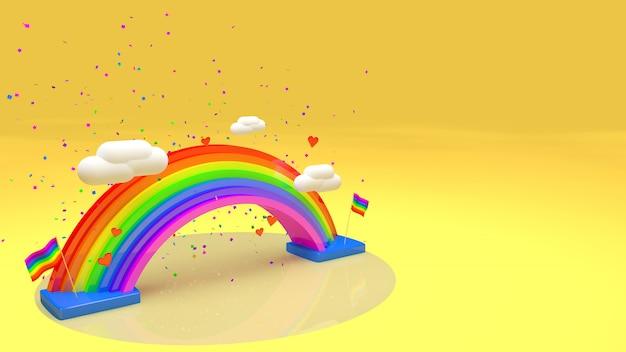 3d-regenbogen mit text für gelbe perspektive des stolz-tages