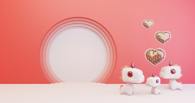 3d rend3d rendering von valentinstag. goldenes herz und niedliche einhörner auf rosa hintergrund, minimalistisch. liebessymbol. modernes 3d-rendering des valentinsgrußes.