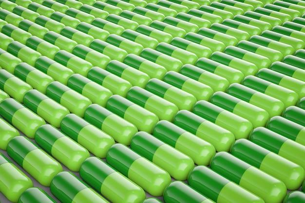3d-rendeirng grüner kapselpillen-hintergrund