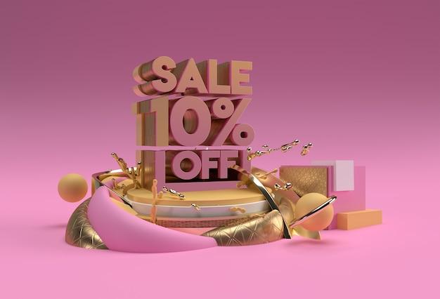 3d render abstract 10 % rabatt auf rabatt-display-produkte-werbung. flyer poster illustration design. Premium Fotos