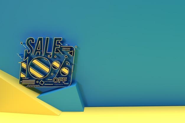 3d render abstract 10 % rabatt rabatt banner 3d illustration design.