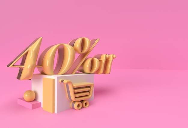 3d render abstract 40% rabatt rabatt auf display-produkte werbung. flyer poster illustration design.