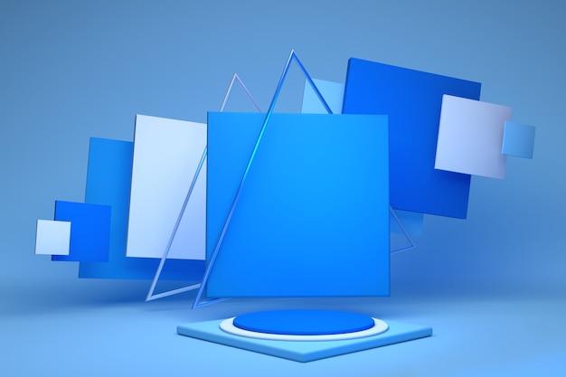 3d-render abstrakte geometrische quadrate und blauer runder sockel isoliert auf pastellfarbener wand