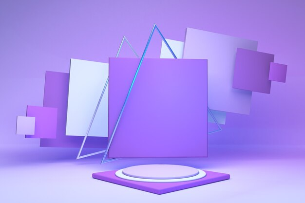 3d-render abstrakte geometrische quadrate und lila runder sockel isoliert auf pastellfarbener wand