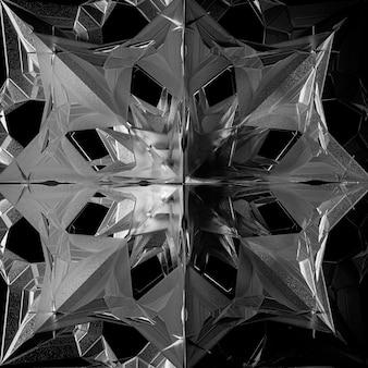 3d-render abstrakte kunst schwarz-weiß monochromen 3d-hintergrund mit einem teil des surrealen alien-fraktals