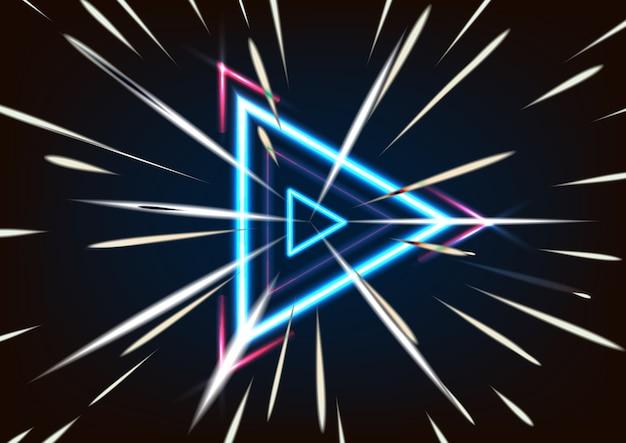 3d-render abstrakte leuchtende neon-dreieck-geschwindigkeit auf schwarzem hintergrund isoliert