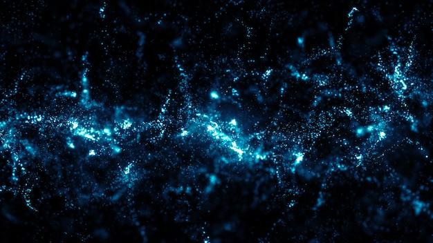 3d-render abstrakte partikel. partikel in zufälliger größe mit glühen und fokusunschärfe. positiver und glitzernder hintergrund.