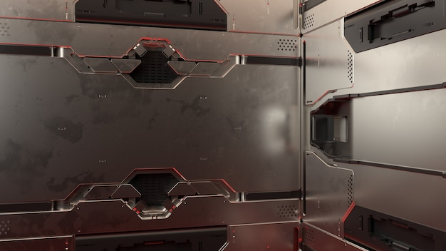 3d-render abstrakte reflektierende sci-fi-panels. detaillierter hintergrund der technologie.