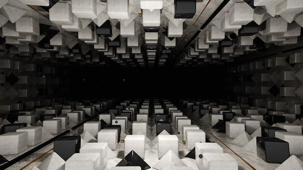 3d-render abstrakte schwarz-weiß-geometrie mit musterhintergrund
