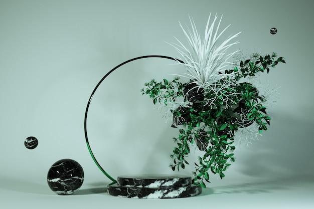 3d-render abstrakter botanischer hintergrund runder marmorsockel verziert mit grünen blumen mockup leerer kosmetikladen schaufensterstand pastellfarben