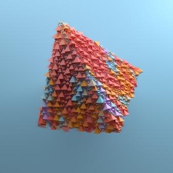 3d-render abstrakter hintergrund mit einfacher geometrie aus pyramidenprimitiven. pop und trendige lebendige farben von zufälligen elementen, die die grundform füllen.