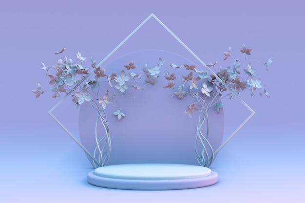 3d-render abstrakter minimaler pastellblauer hintergrund leeres podium mit frühlingsblumen