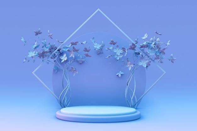 3d-render abstrakter minimaler pastellblauer hintergrund leeres studio mit frühlingsblumen zylinderpodest