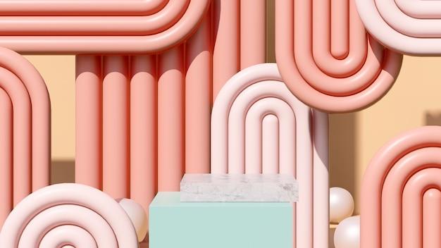 3d render abstraktes surreales bild marmorpodest mit pastellfarbener hintergrundproduktanzeige werbung