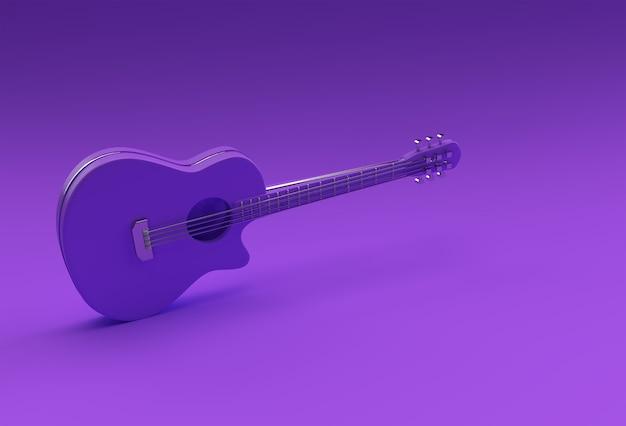3d-render-akustikgitarre auf blauem hintergrund 3d-illustration design.