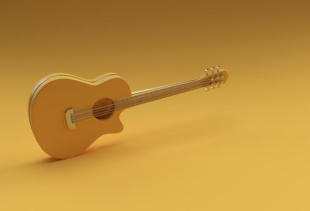 3d-render-akustikgitarre auf gelbem hintergrund 3d-illustration design.