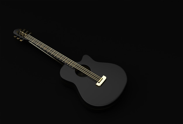3d-render-akustikgitarre auf schwarzem hintergrund 3d-illustration design.