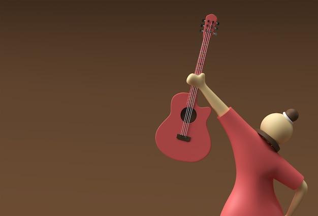 3d-render-akustikgitarre mit frauen-zeichentrickfilm-figuren 3d-illustration design.