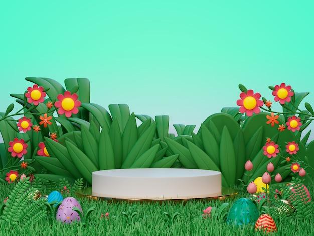 3d-render-anzeige-podium für produkt am ostertag