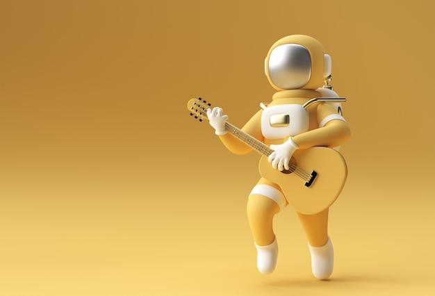 3d-render-astronaut beim spielen von gitarre 3d-illustration design.