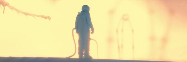 3d-render-astronaut, der das banner des fremden planeten erforscht