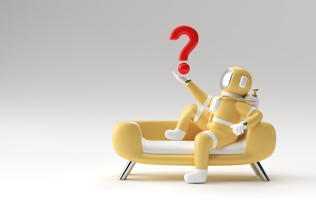 3d render astronaut holding fragezeichen sitzend auf sofa mockup 3d-illustration design.