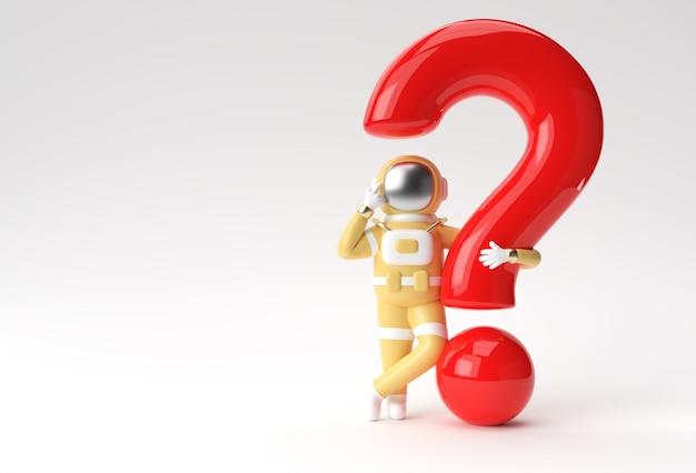 3d render astronaut mit fragezeichen denken, enttäuschung, 3d illustration design der müden kaukasischen geste.